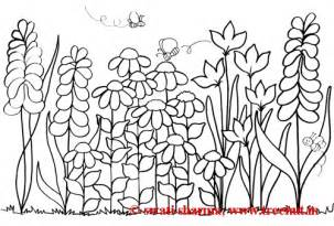 Flowerbed Group Of Flowers Spring Coloring Page sketch template