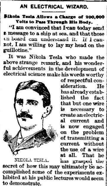 Nikola Tesla Article Nikola Tesla An Electrical Wizard A Newspaper Article