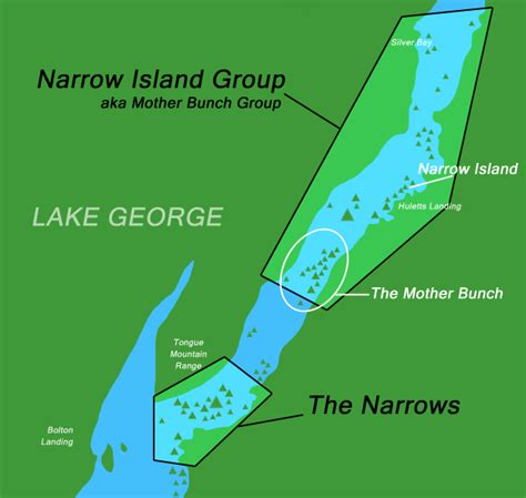 map of lake george ny narrow island vs the narrows on lake george