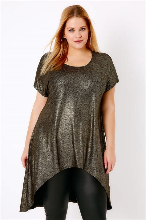 black gold speckle fitted dipped hem top plus size 14 to 32