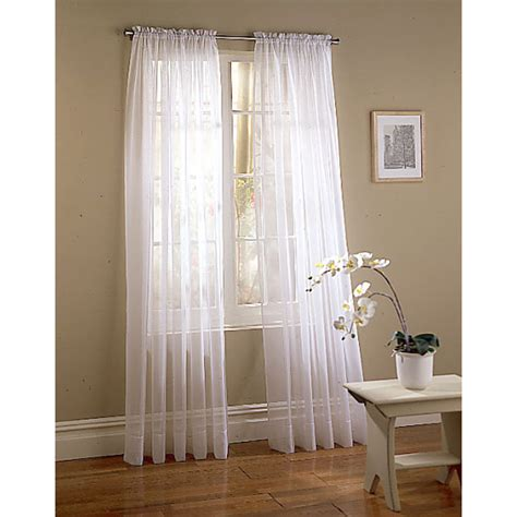 white sheers curtains shop style selections voile 95 in white polyester rod