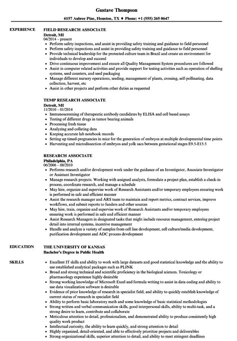 Research Associate Resume by Research Associate Resume Sles Velvet