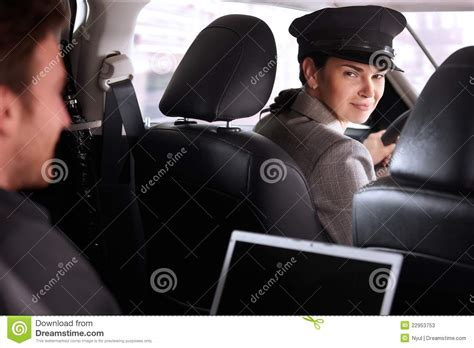driver services pretty chauffeur in luxury car stock photos image 22953753