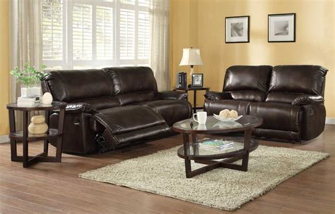Homelegance Elsie Reclining Sofa Set Dark Brown Polished Microfiber Reclining Sofa Sets