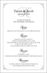 free wedding menu template wedding menu templates create wedding menus at home