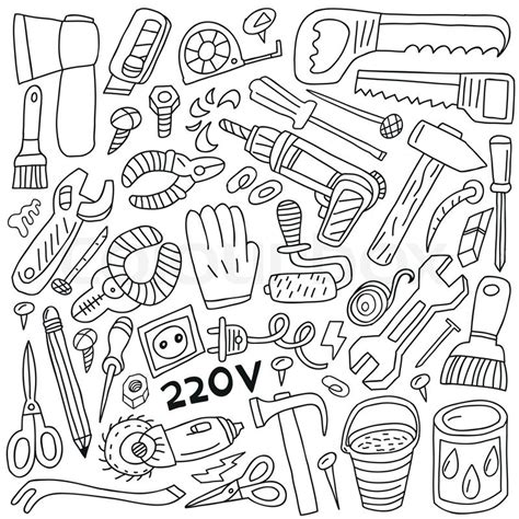 doodle tool work tools doodles stock vector colourbox