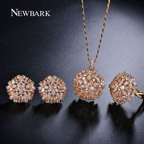 Waterdrop Flowers Pendant Necklace Pair Of Earrings aliexpress buy newbark trendy set jewelry flower design water drop cz wedding