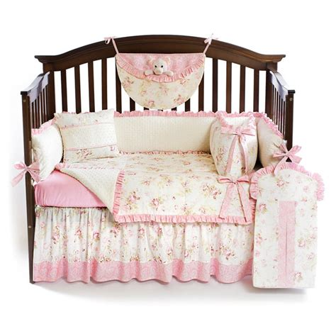 shabby chic pink 5pc baby crib bedding set custom made