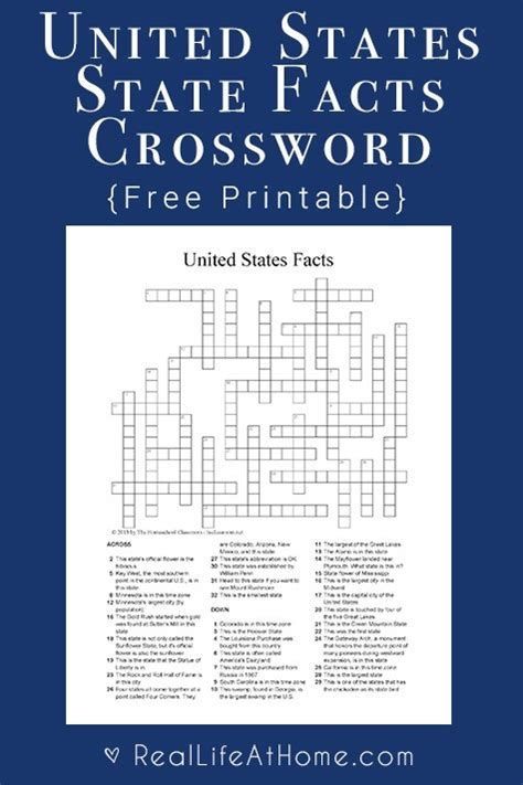 usa states crossword puzzle u s state facts crossword puzzle free social studies