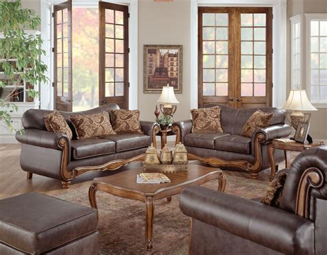 leather living room furniture sets rustic living room design with brown leather sofa with arms and wooden table plus ottoman chair