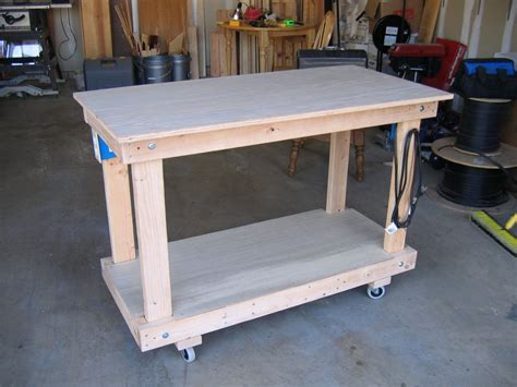 shop benches rolling shop workbench by dkrice lumberjocks com