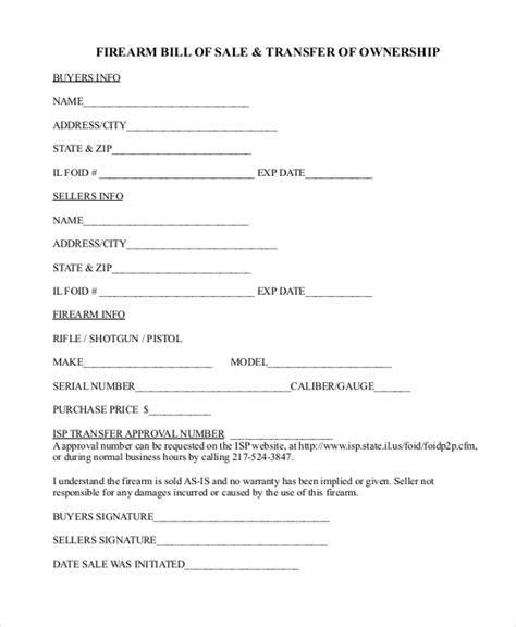 firearm bill of sale form sle firearm bill of sale form 8 free documents in pdf
