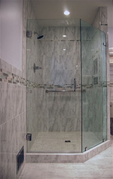 Custom Shower With Neo Angle Door Traditional Bathroom Custom Neo Angle Shower Doors