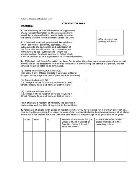 passport police verification form   templates