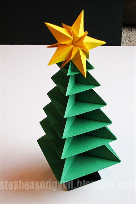 christmas tree paper folding stephen s origami origami tree tutorial