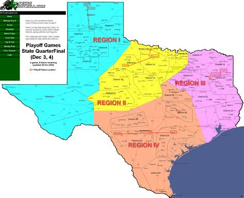 texas four regions map class 1a statewide playoff maps areas regionals quarterfinalists semifinalists
