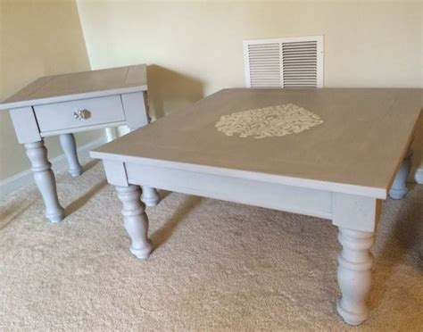 refinished coffee table and side table with sloan chalk paint in grey https www