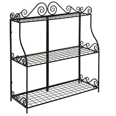 tiered bathroom stand large freestanding black metal scrollwork 3 tier plant