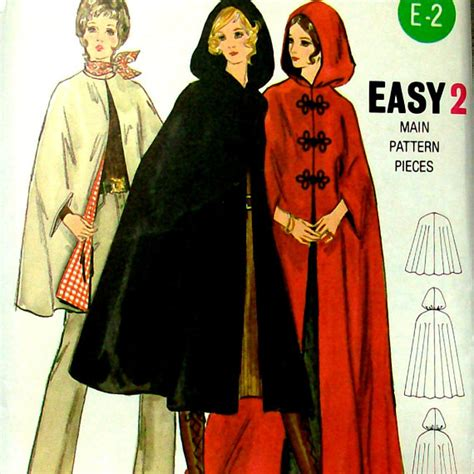 sewing pattern hooded cape 70s vintage sewing pattern 70s hooded cape cloak butterick
