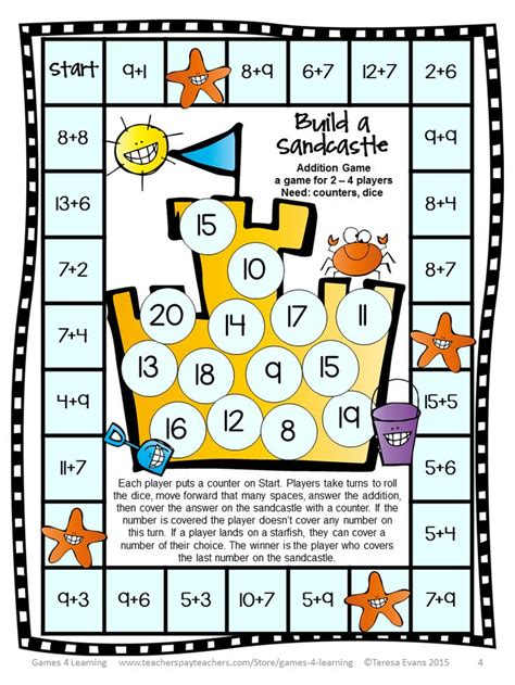 addition board games ks1 printable addition to 20 games sparklebox addition and subtraction