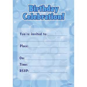 blue birthday glitz party invitations x 16 from all you need to party uk