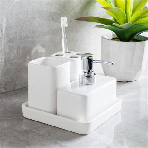 stoneware bathroom accessories harman elements bath accessories white set of 4