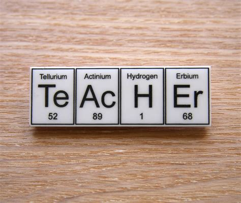 science teachers printable periodic table teacher periodic table element brooch choose black or