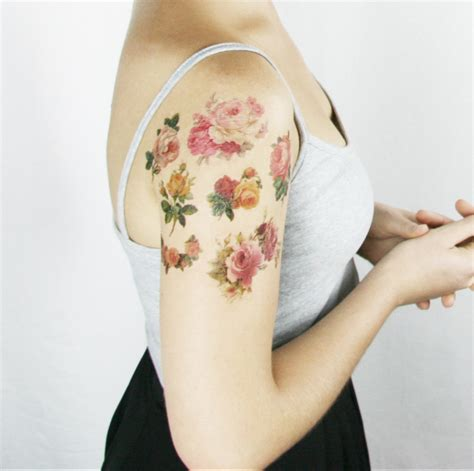fake rose tattoos vintage roses 7 temporary tattoos etsy finds