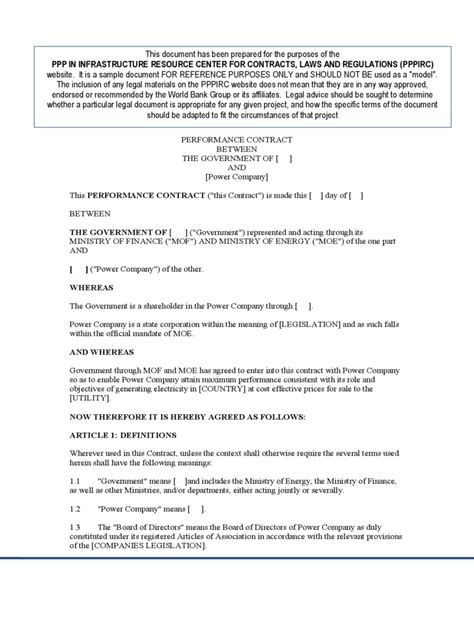 Performance Agreement Letter Sle Performance Contract Template 2 Free Templates In Pdf Word Excel