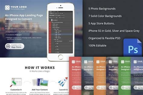 Iphone App Landing Page Template Iphone App Landing Page Psd Website Templates On Creative Market