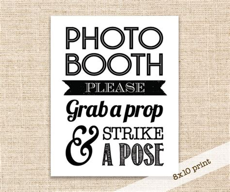 Printable Photo Booth Prop Signs | sale photo booth prop sign printable diy 8x10 sign