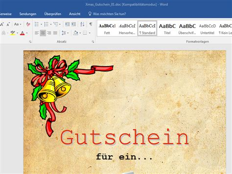 Vorlage Word Gutschein Geschenk Gutschein Word Vorlage Chip
