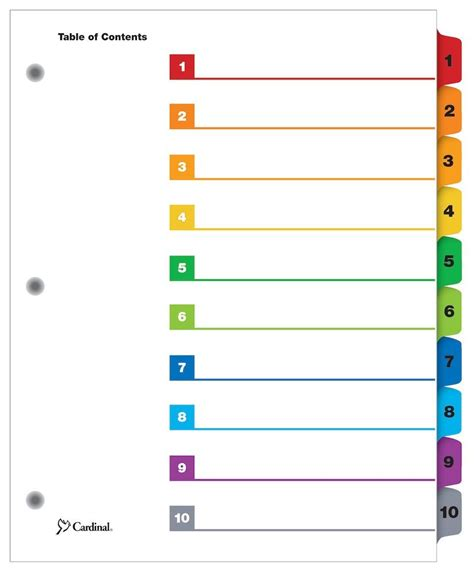 index divider templates quickstep 174 onestep 174 printable table of contents dividers