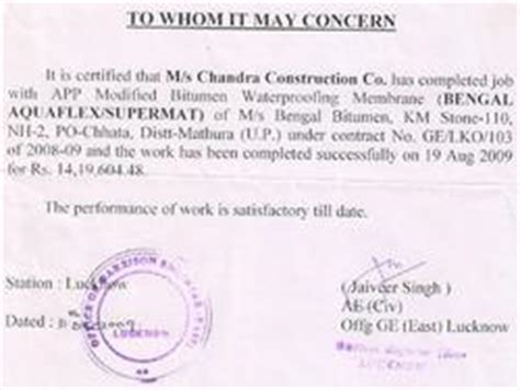 Performance Certificate Letter Client Commendations And Customer Reviews Bengal Bitumen