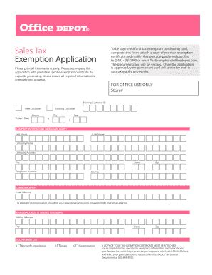 office depot tax exemption fill printable