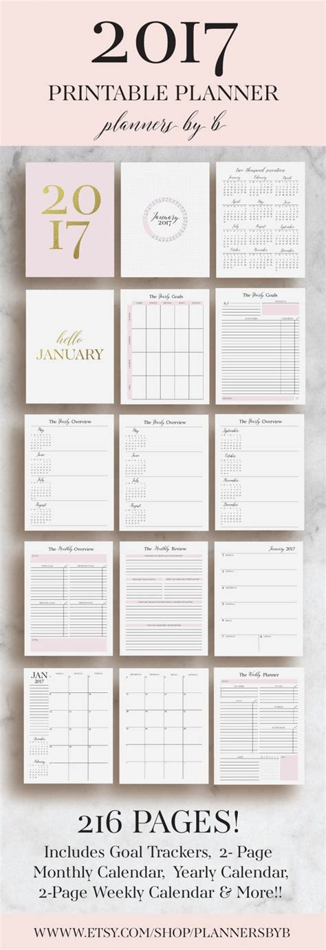 printable calendar agenda 2017 2017 planner printable 2017 monthly planner 2017 by