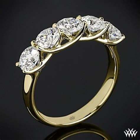 18k Yellow Gold 5 Stone Trellis Diamond Right Hand Ring   Setting Only   Eternity bands, Classy