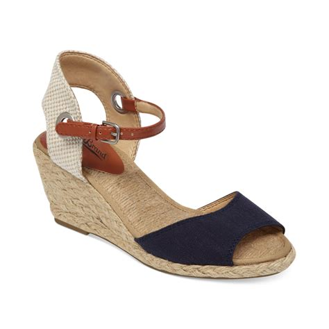 lucky sandals lucky brand womens kyndra demi wedge sandals in blue