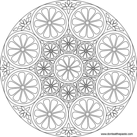new mandala coloring pages coloring pages don t eat the paste citrus mandala to
