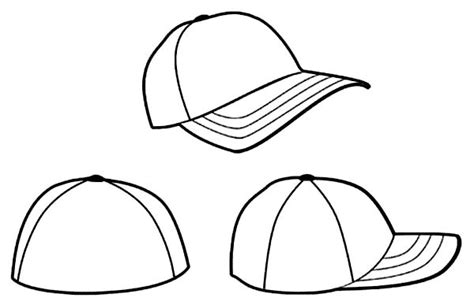 awesome three baseball cap colouring page with baseball