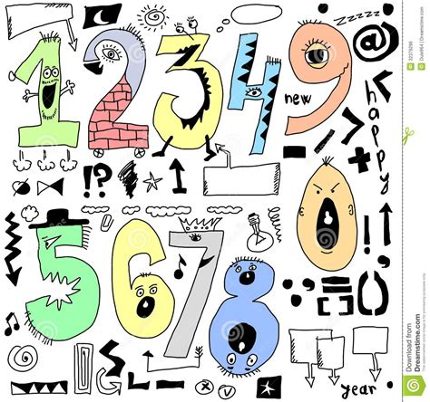 doodle numbers free doodle numbers royalty free stock image image