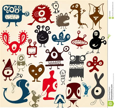 many doodle monsters vector stock photo many doodle monsters image 22750890