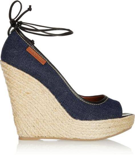 sergio denim wedge sandals in blue navy lyst