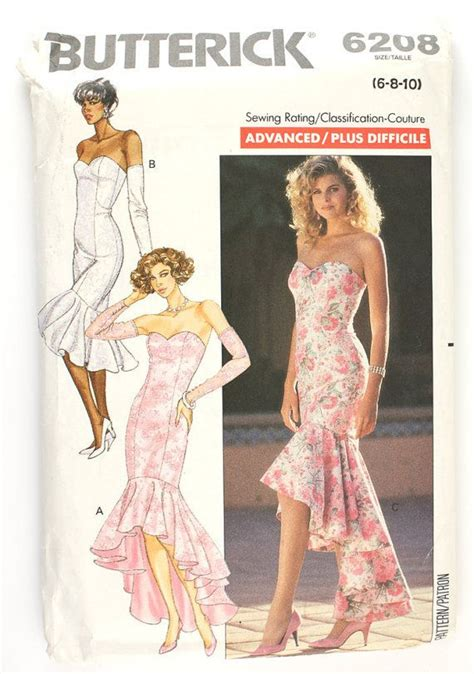 dress pattern evening wear butterick 6208 misses 1980s mermaid dress pattern