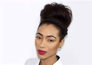 styling products for an american hair bun fresh lengths hairstyle messy bun with braided headband