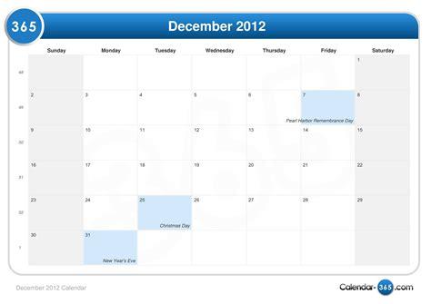 December 2012 Calendar December 2012 Calendar