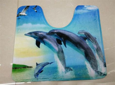 Dolphin Bathroom Rugs 2 Non Slip Bathroom Rug Set Bath Mat Contour Lid