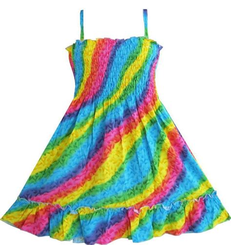 dress rainbow smocked halter children clothing sz