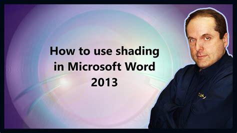 shading  microsoft word  youtube