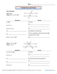 Parallel Line Proofs Worksheet geometry proofs worksheets parallel lines and proofs